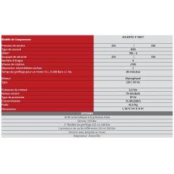 Caractéristiques du compresseur Atlantic 6m3 220 volts
